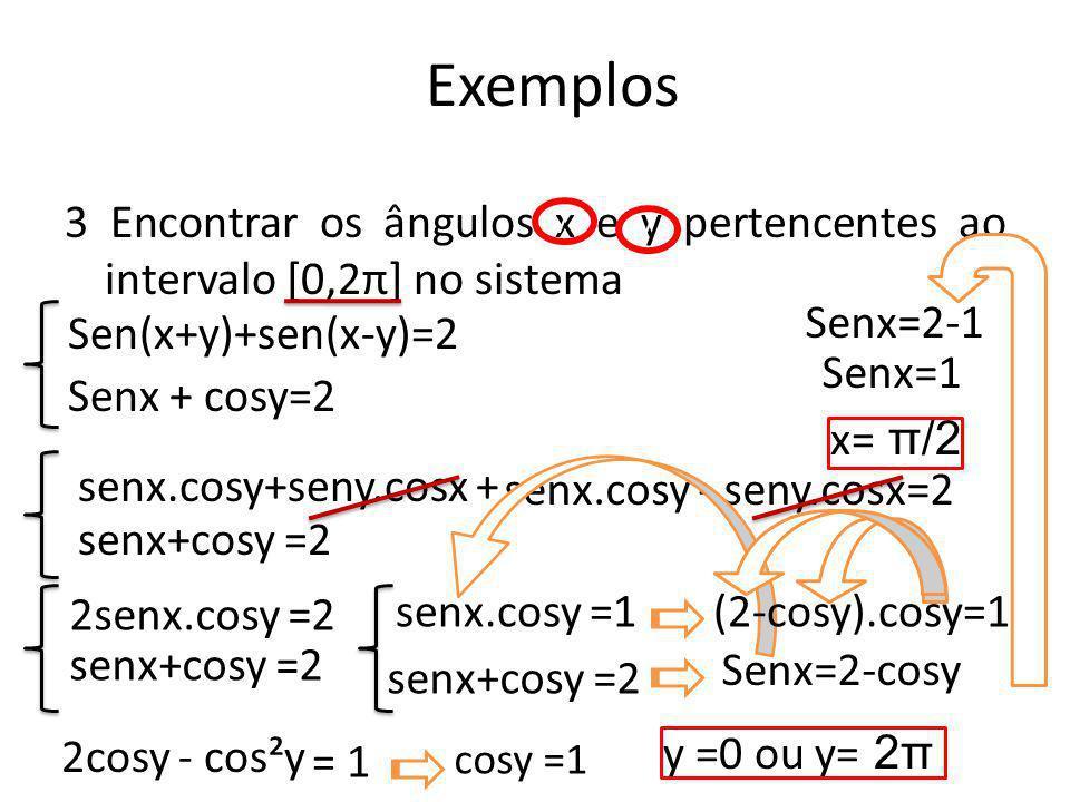 Exemplos 3 Encontrar os ângulos x e y pertencentes ao intervalo [0,2π] no sistema. / / Senx=2-1.
